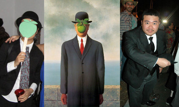 Me, the Magritte Painting, and a guy actually dressed as Oddjob
