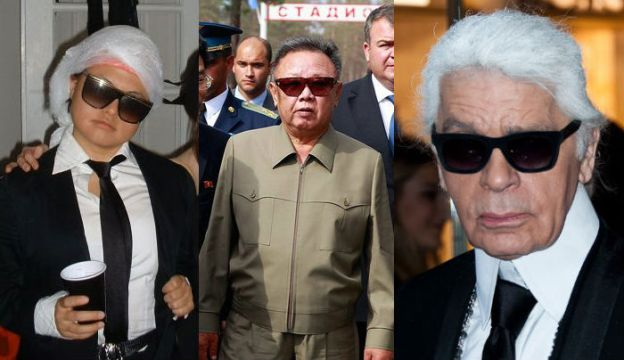 Cute little Mariko, deceased North Korean dictator Kim Jong Il, and fashion designer Karl Lagerfeld